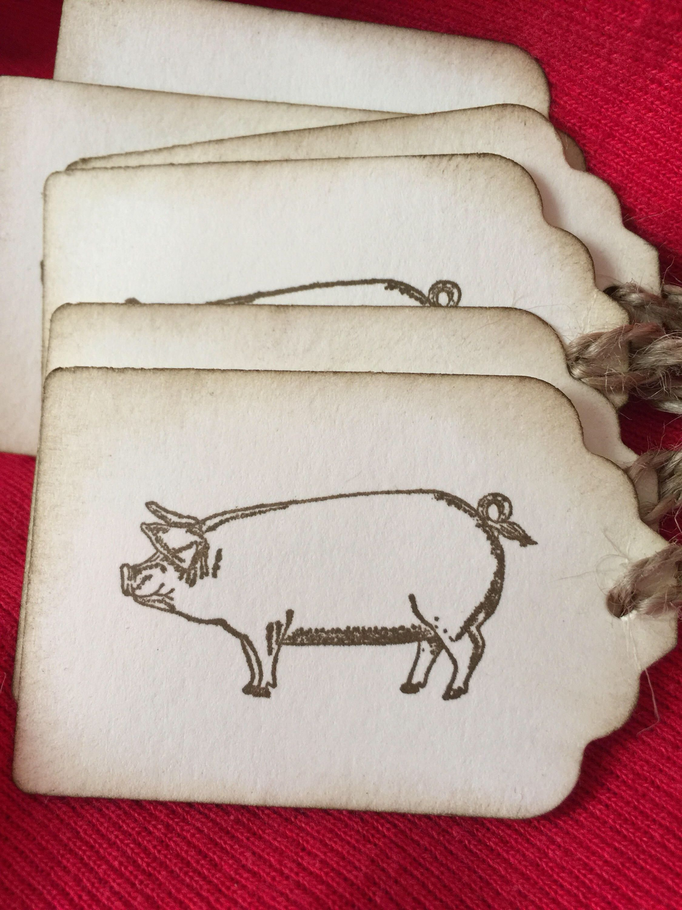 BBQ labels - Pig - piglet - Country tags - pork food tags - Pot ...
