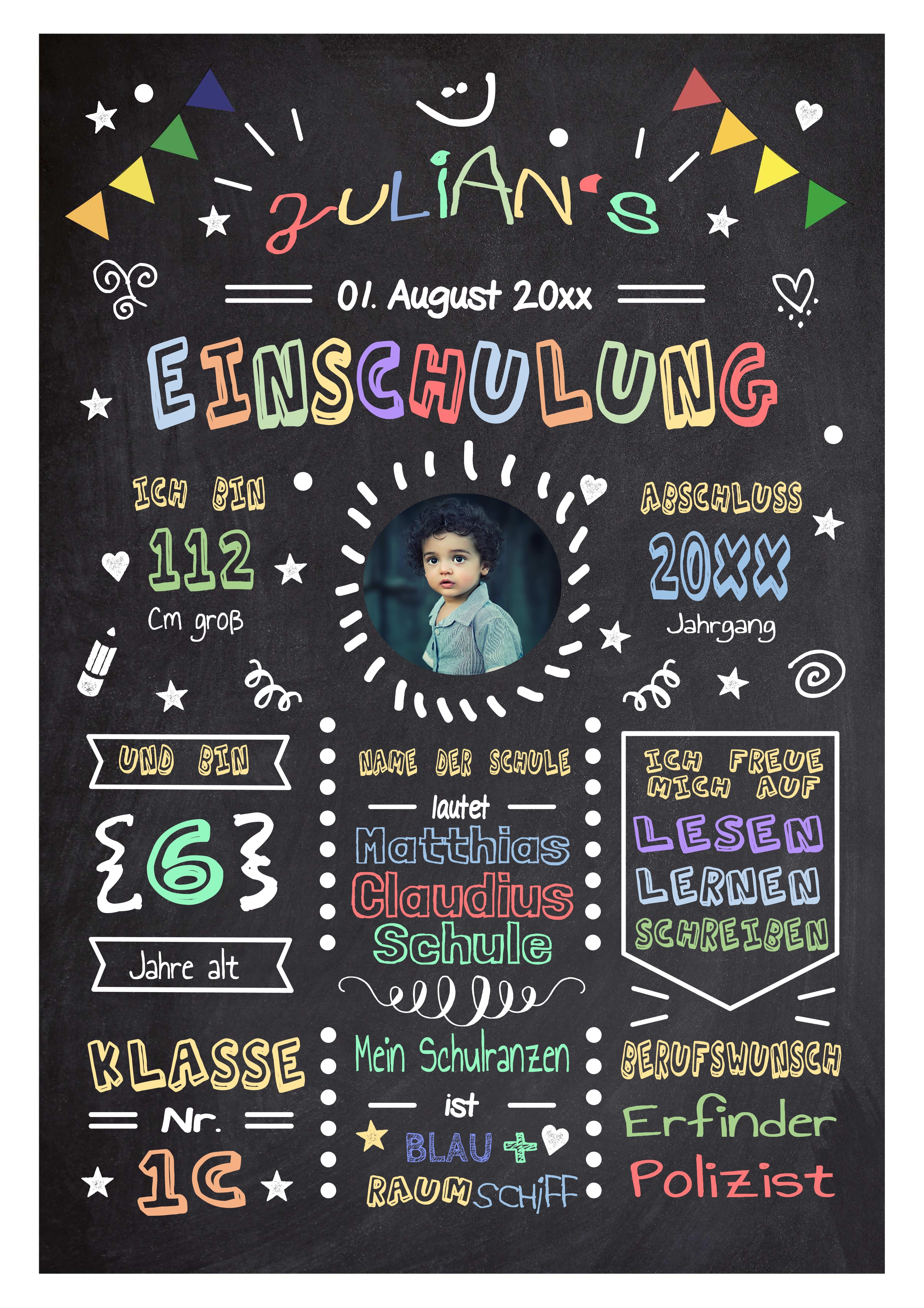 Geschenk zur Einschulung/ Personalisierte Meilensteintafel / Chalkboard