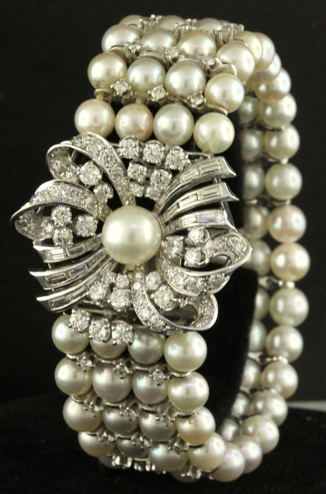 Details About Antique 4 Strand 6 5mm Pearl 14k White Gold