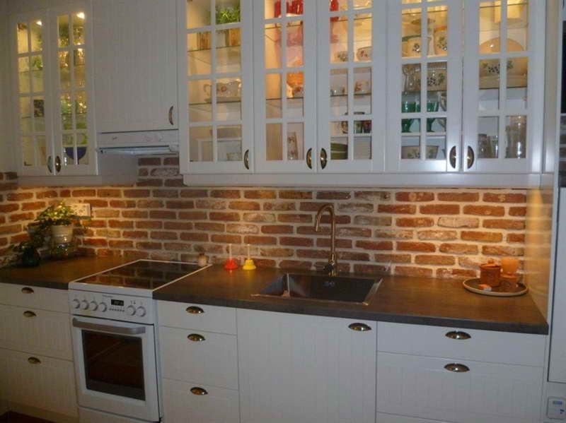 Small Galley Kitchen Makeover with brick backsplash For the Home