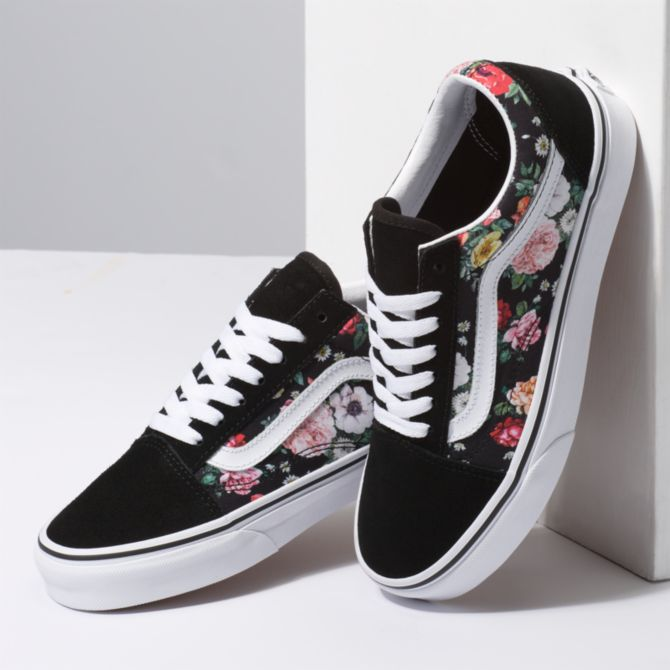 Vans Girls Old Skool Digi Rose & Black Shoe | Schuhkarton