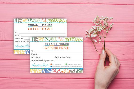 Rodan and Fields Gift Certificate Floral Gift Certificate ...