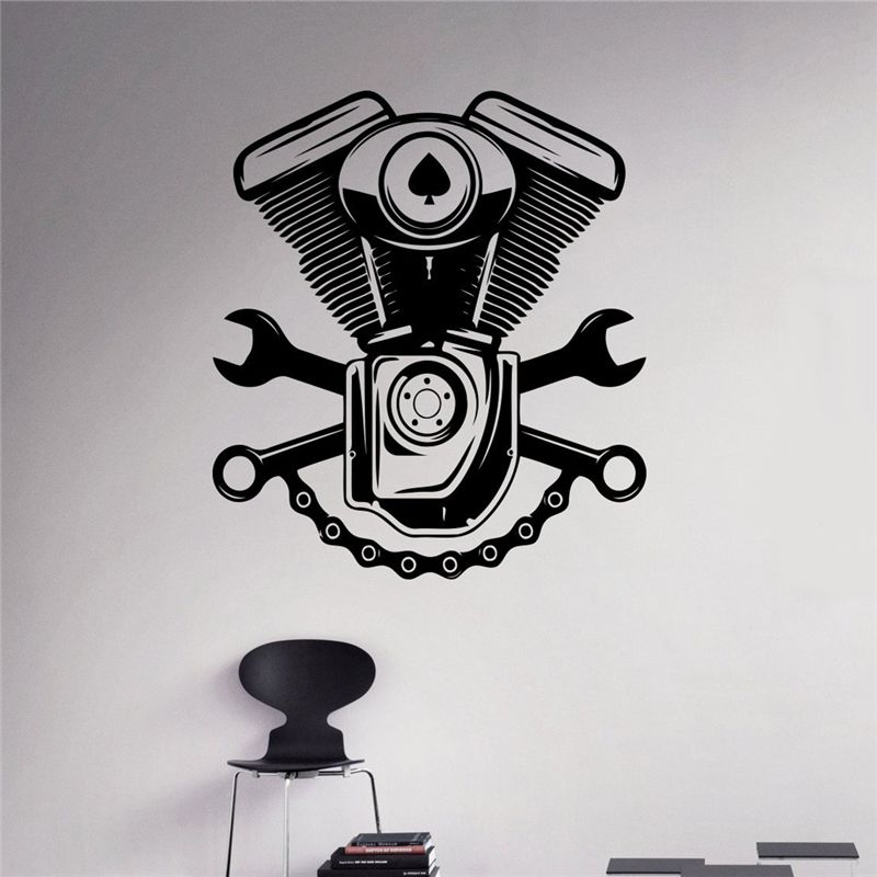 Engine Motor Wall Sticker Car Service Vinyl Sticker Home Interior - Custom vinyl wall decals for garage