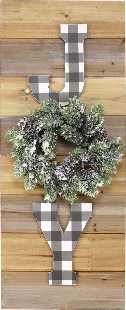 JOY w/ Wreath Pallet Board | Pallet boards, Wreaths ...