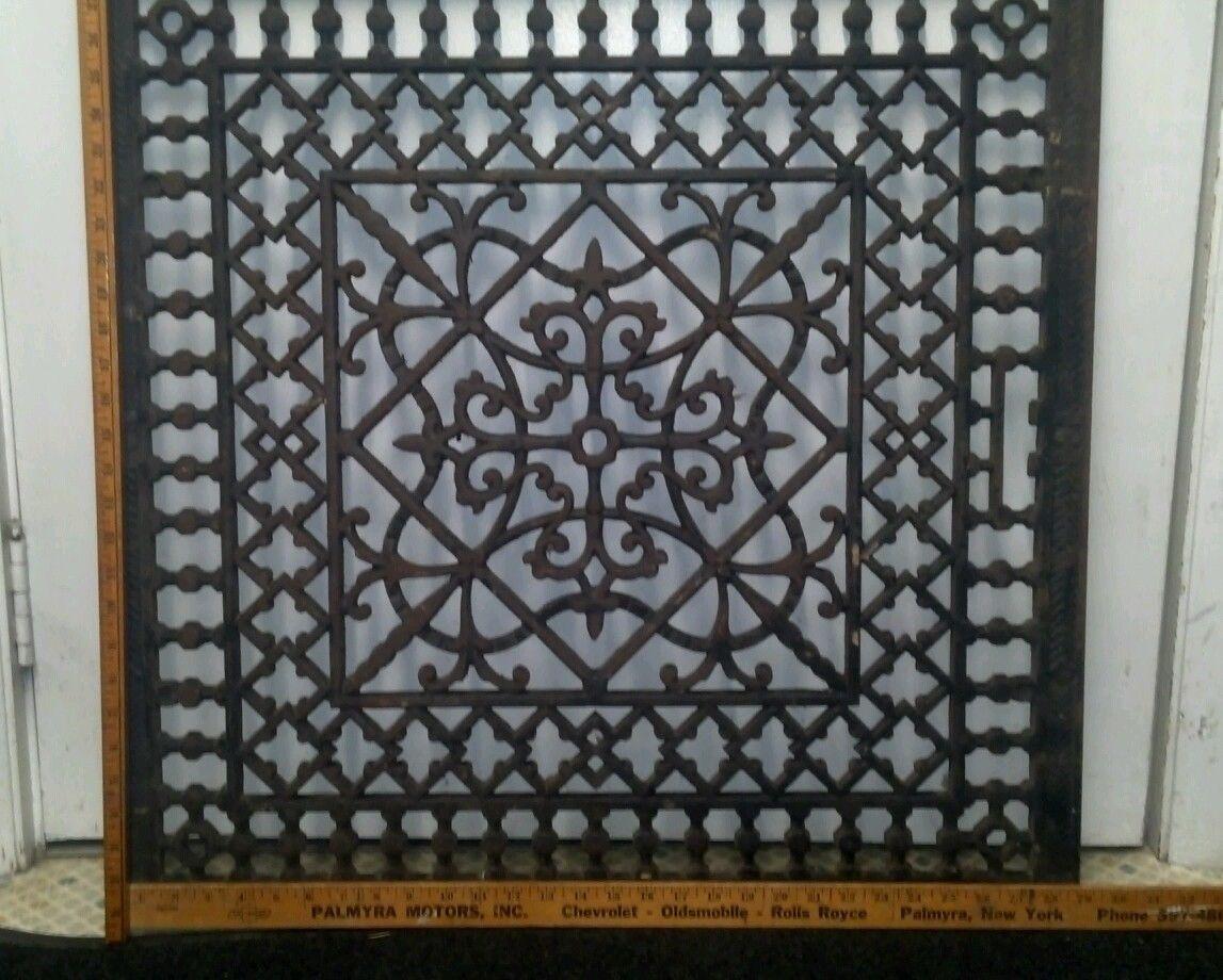 Large Ornate Metal Heat Grate Antique Vintage Cast Iron Decorative