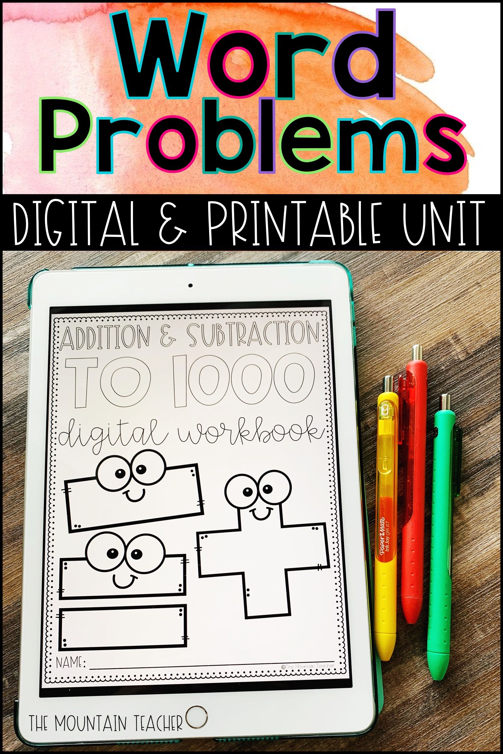 2nd Grade Word Problems Worksheets Or Digital Workbook For Distance Learning Word Problems Elementary Math Lessons Addition And Subtraction Worksheets