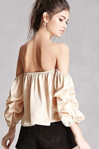 18cc80e336b Satin Off-the-Shoulder Top | Products | Puffy sleeves blouse, Tops ...