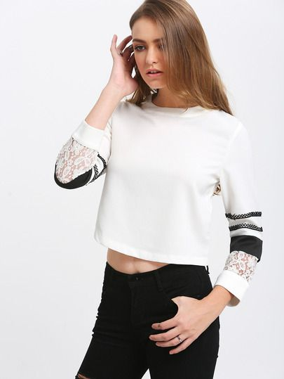 White Crew Neck With Lace Blouse -SheIn(Sheinside) Mobile Site