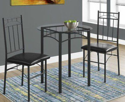 By Home Design 3 Piece Dining Set, Metal - Round Tempered Glass