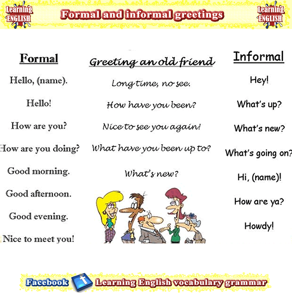 Greeting with acquaintances, friends family conversations