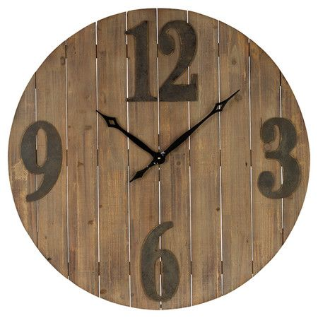 Showcasing a planked wood design, and oversized numerals, this understated wall clock offers rustic-chic style for your home.  Produ...