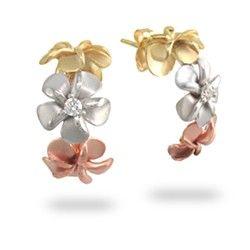 b88d4416985eb Tri-Color Gold 3-Plumeria Earrings with Diamonds - Plumeria Jewelry ...