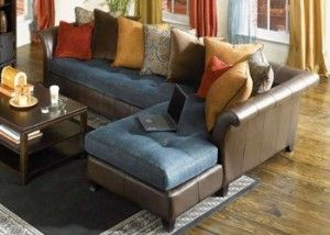 Denim and Leather Sectional with Chaise by SofaTrend