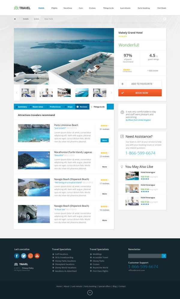 Travel Agency - Multipurpose Booking PSD Template by Nicola Mihaita, via Behance
