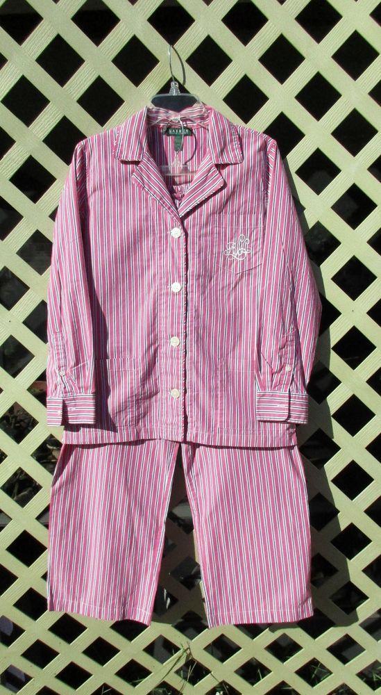 32b9adaa7b Ralph Lauren Striped Long Sleeve Cotton Lounge Pajamas Set Pink ...