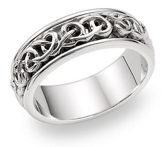 Lesofgold Bowen Celtic Wedding Band 14k White Gold 875