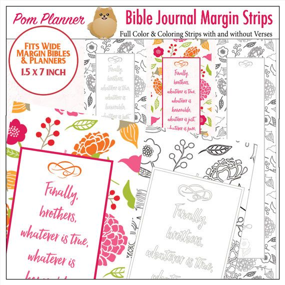 Printable Coloring Bible Journaling Margin Strips For Wide Margins Or Planner Sticker Decoration Bookmarks Philippians 48