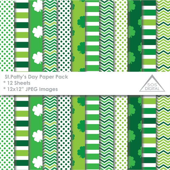 St. Pattys Day Papers, St. Patricks Day Papers, Clovers, Green, Shamrock, Stripes, Chevron, printable jpeg papers, small commercial use, JPG  ~ 12