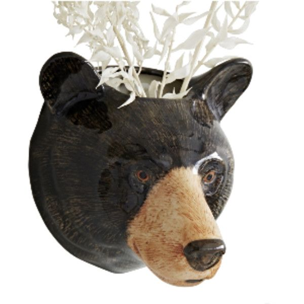 Bear Head Wall Vase (£30) ❤ liked on Polyvore featuring home, home decor, vases, ceramic home decor, ceramic vases, ceramic wall vase and ceramic wall pockets