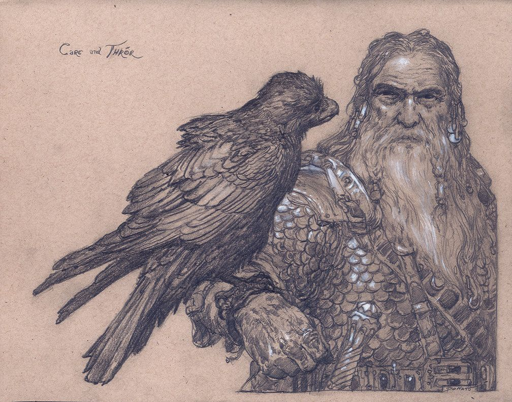 """'There used to be a great friendship between [the ravens] and the people of Thror.' - Thorin Oakenshield, J.R.R. Tolkiens' The Hobbit Carc and Thror 14"""" x 11"""" Graphite pencil and chalk on paper 201..."""