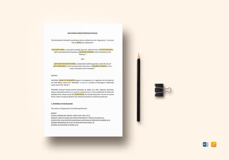 Multimedia Publicity Privacy Release Template Document Design - sample advertising contract template