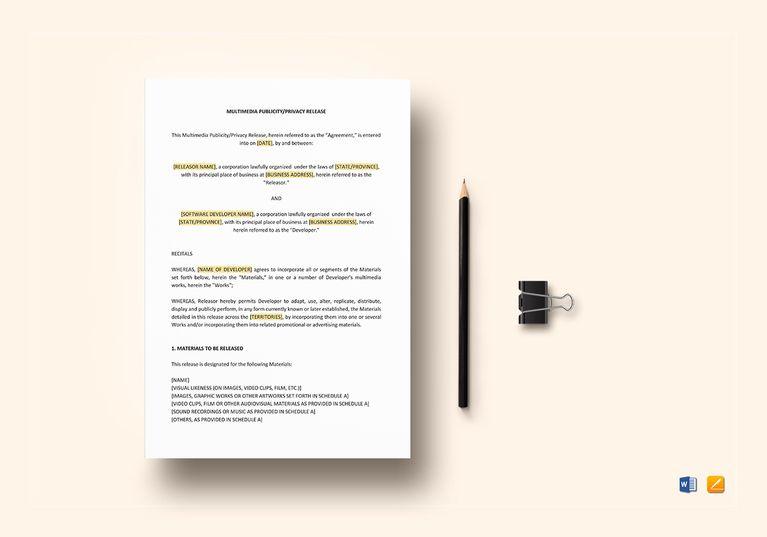 Multimedia Publicity Privacy Release Template Document Design