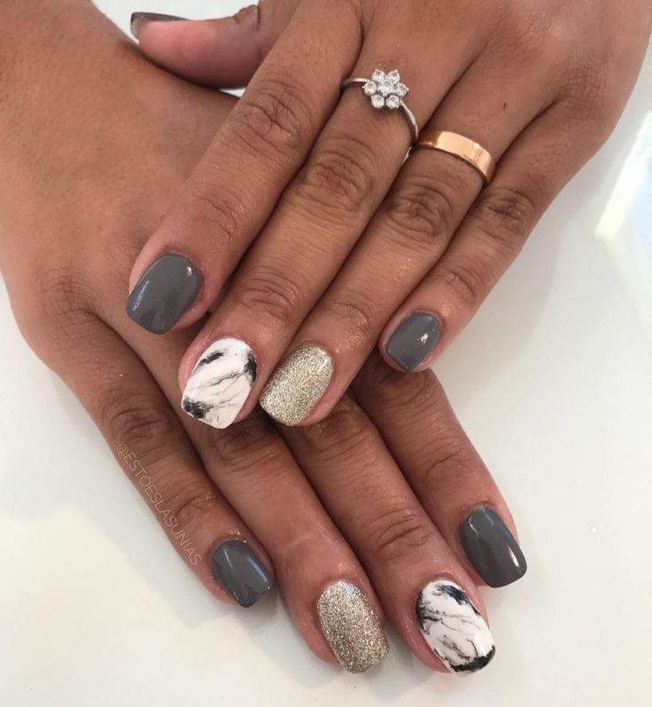Grey and Gold glitter with Marble effect 10 Perfect Marble Nail Art ...
