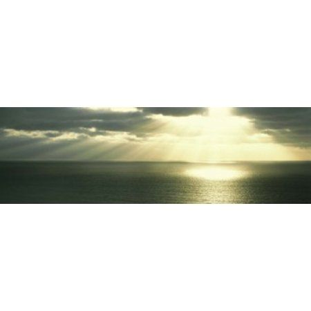 Sunset Pacific Ocean San Diego CA USA Canvas Art - Panoramic Images (36 x 12)