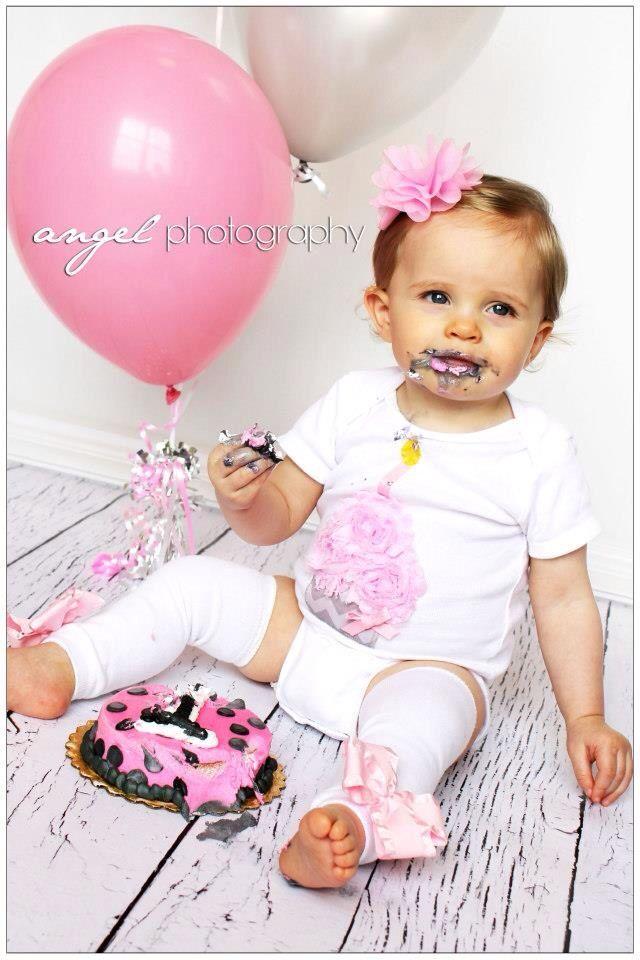 1st Birthday Cake Photoshoot Baby Girl Pink Balloons Baby