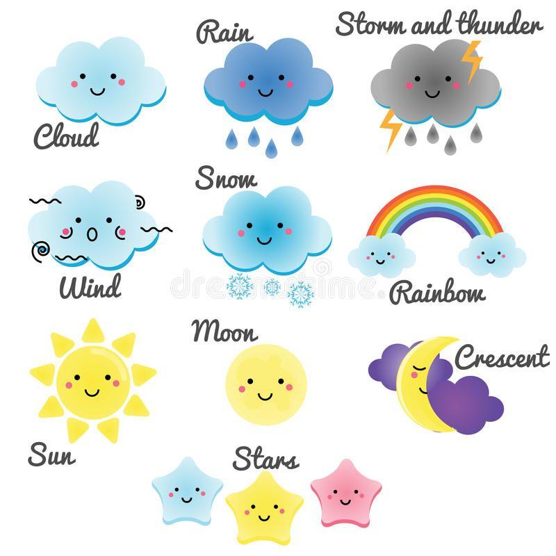 Elementos Lindos Del Tiempo Y Del Cielo La Luna El Sol La Lluvia Y Las Nubes De Kawaii Vector El Ejemplo Para Los Ni Dibujos De Nubes Inglés Para Niños Nubes