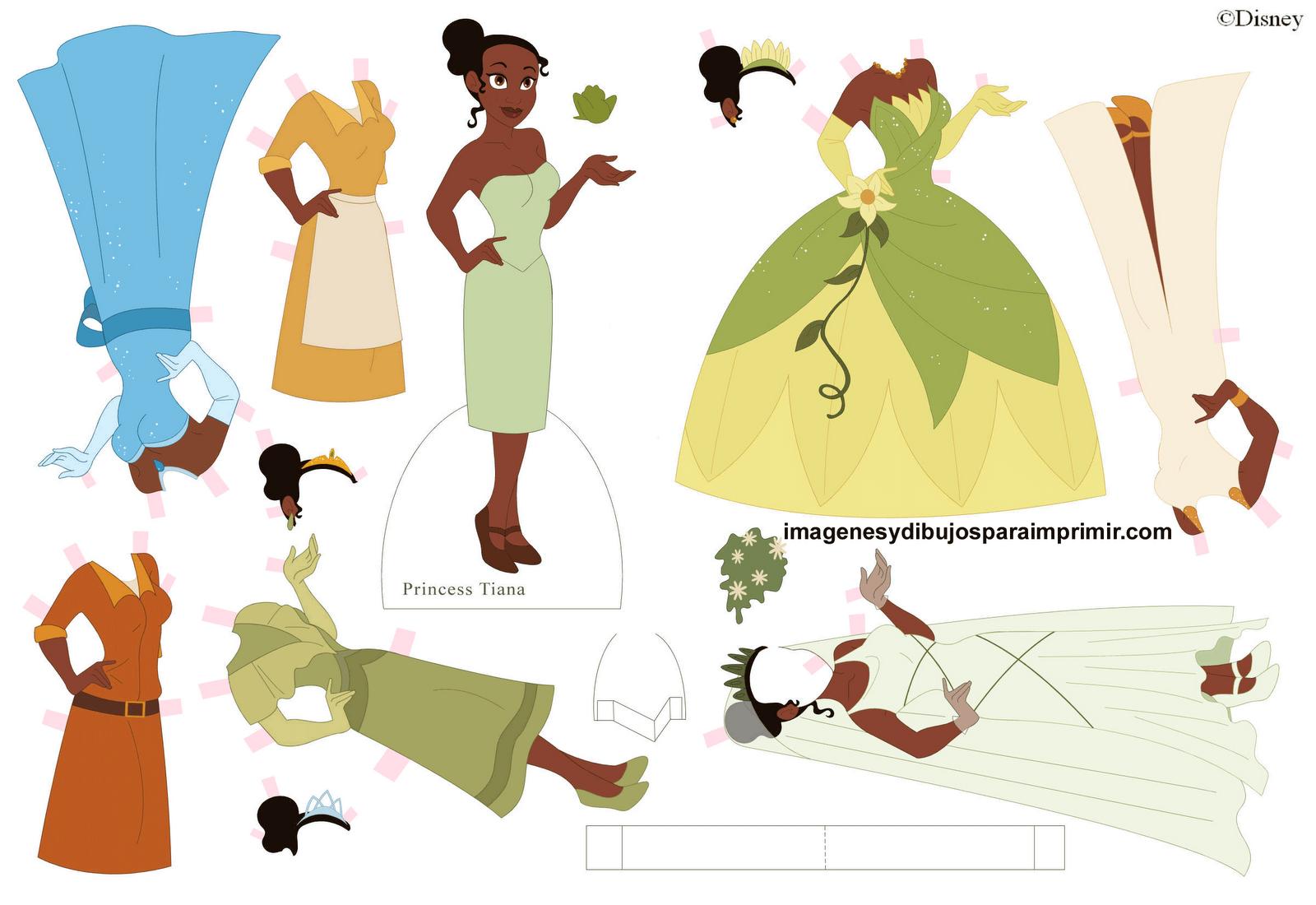 Dibujo De Tiana Y El Sapo Tiana Para Colorear: Imágen Para Recortar Tiana Princesa Disney-Imagenes Y