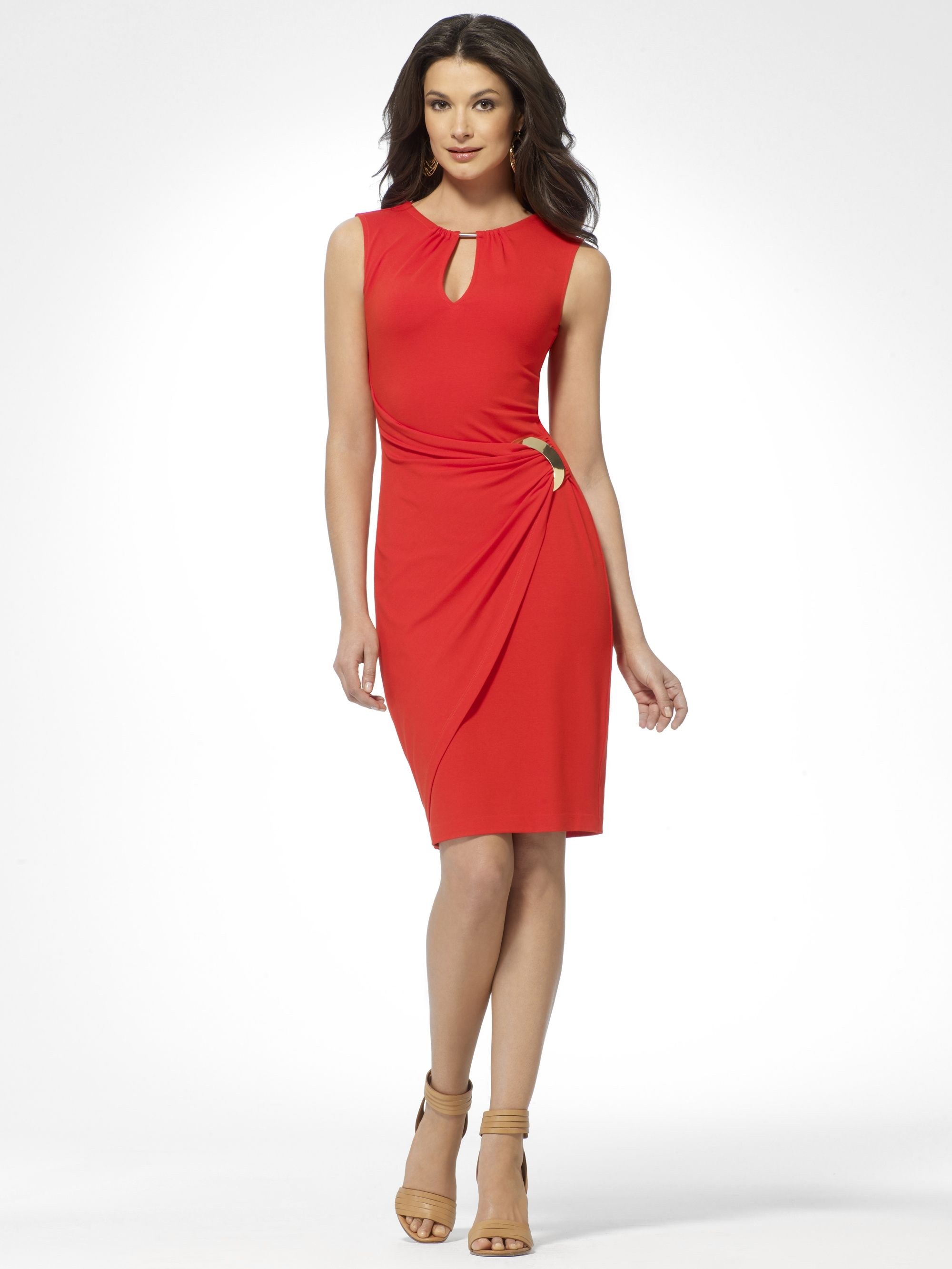Day dresses red keyhole sheath dress caché my style clothing