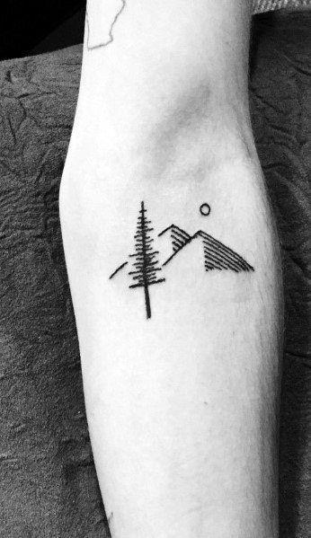 Photo of 50 Minimalist Mountain Tattoo Ideas For Men – Outdoor Landscape Designs