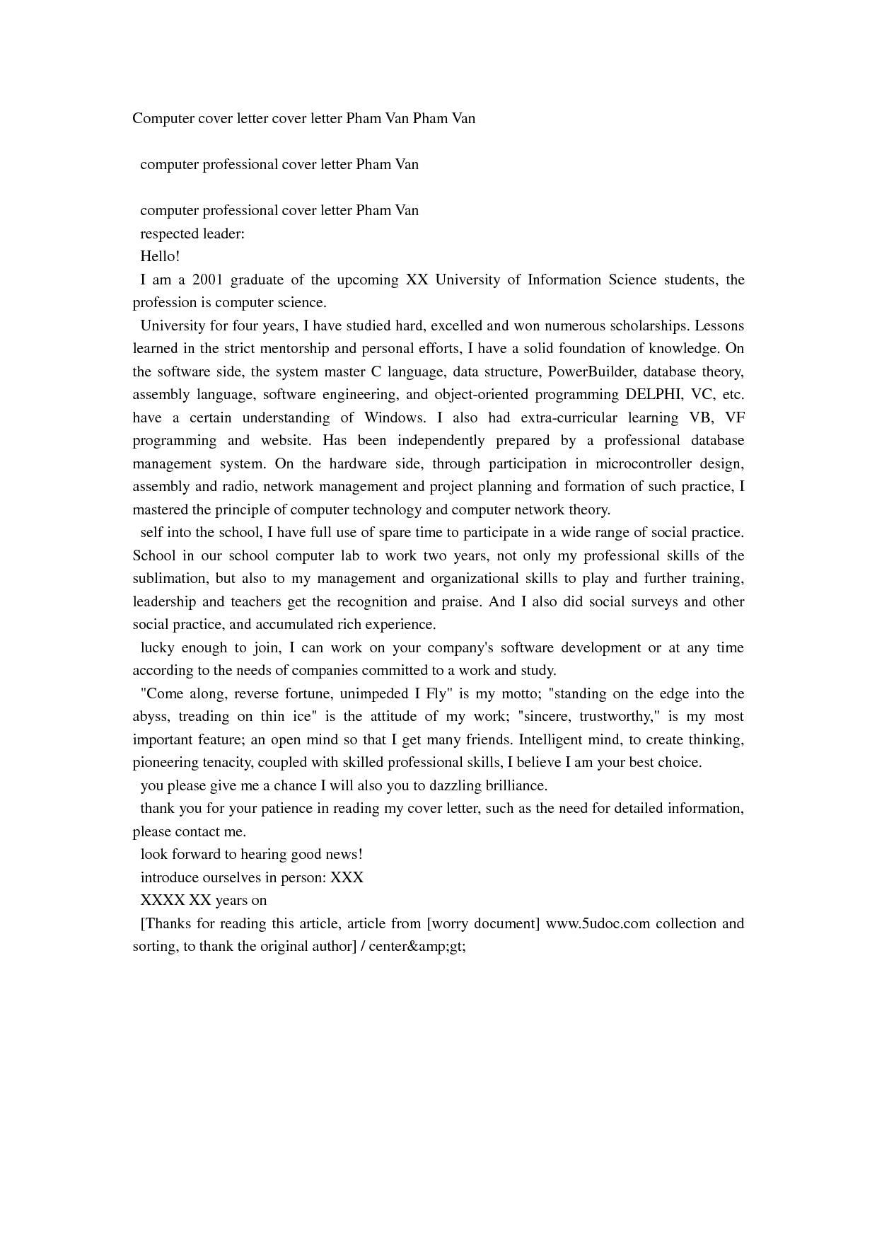Computer Cover Letter Cover Letter Pham Van Pham Van Doc Doc By