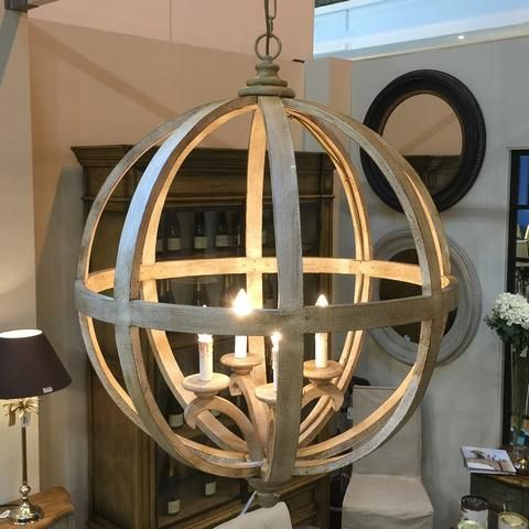 Extra Large Round Wooden Orb 4 Light Chandelier