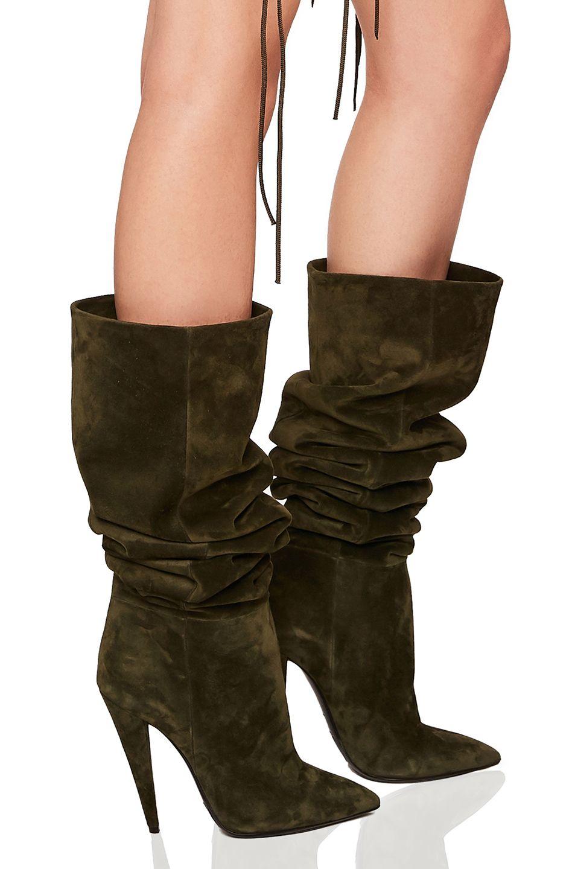 07b457fb927 SAINT LAURENT Era Suede Heeled Thigh High Boots.  saintlaurent  shoes