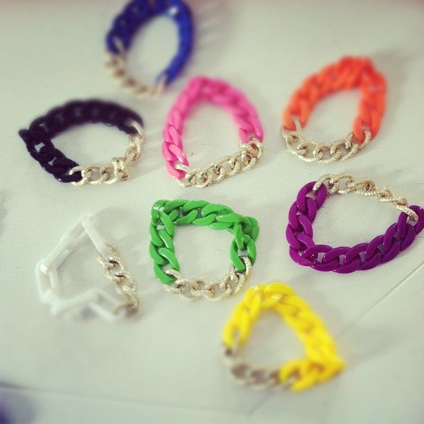 colorful chunky chain braclets