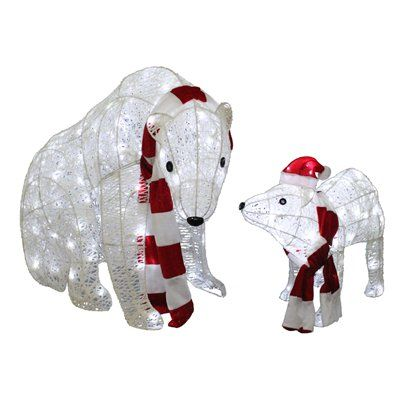 Holiday Living 2 Piece Twinkling Polar Bear Outdoor Christmas