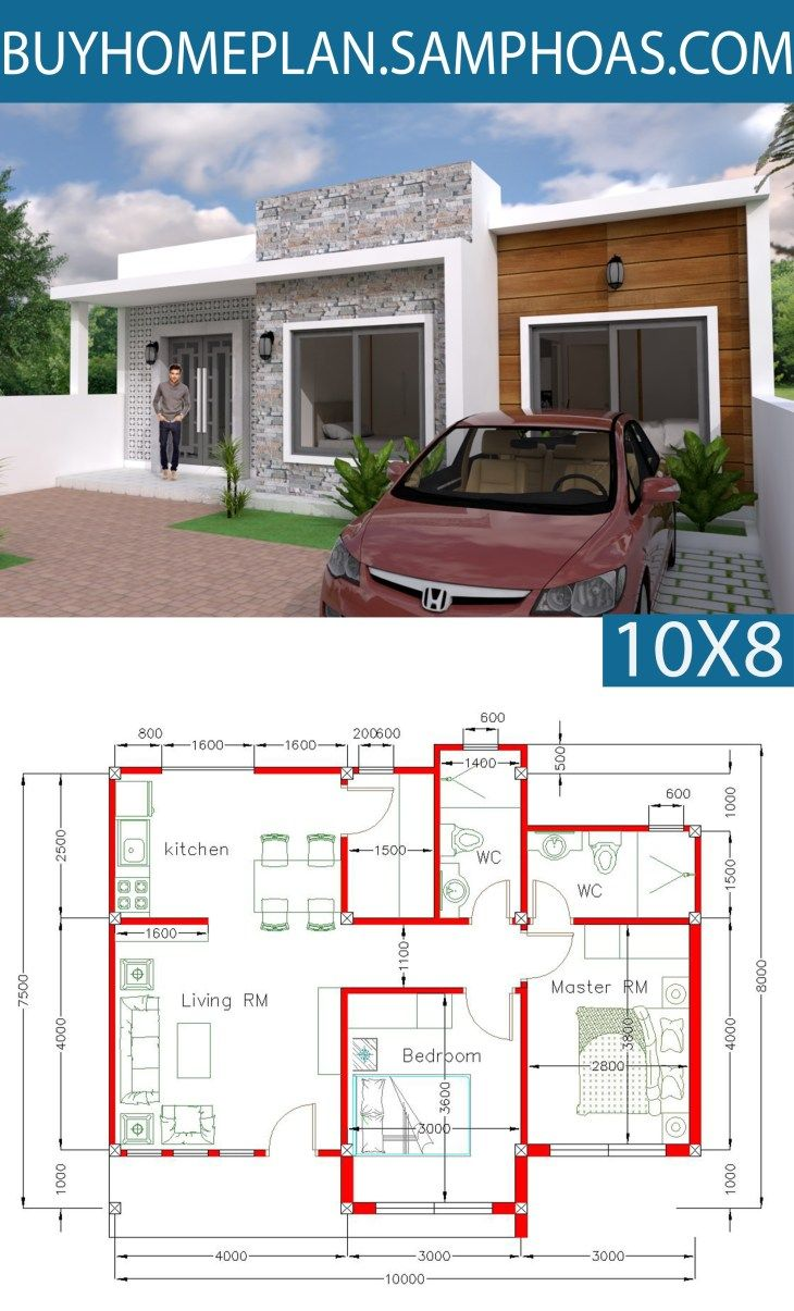 Simple Home Design Plan 10x8m With 2 Bedrooms Simple House