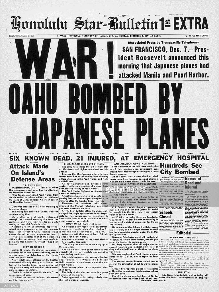 The Newspaper Tells Of Bombing In Downtown Honolulu An Hour And A