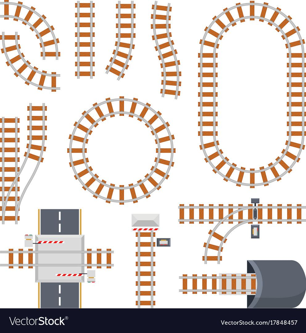Different Train Constructions And Top View Of Rail Road Vector Constructor Parts Of Railway And Railroad For Train Free Photoshop Resources Paper City Train