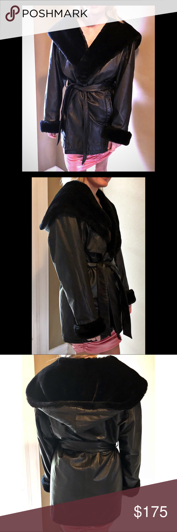 Wilson's Black Leather Hooded Coat Wilson's Leather hooded
