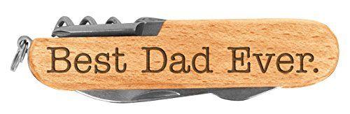 Fathers Day Gift for Dad Best Dad Ever Laser Engraved Wood 6 Function Multitool Pocket Knife * Visit the image link more details.