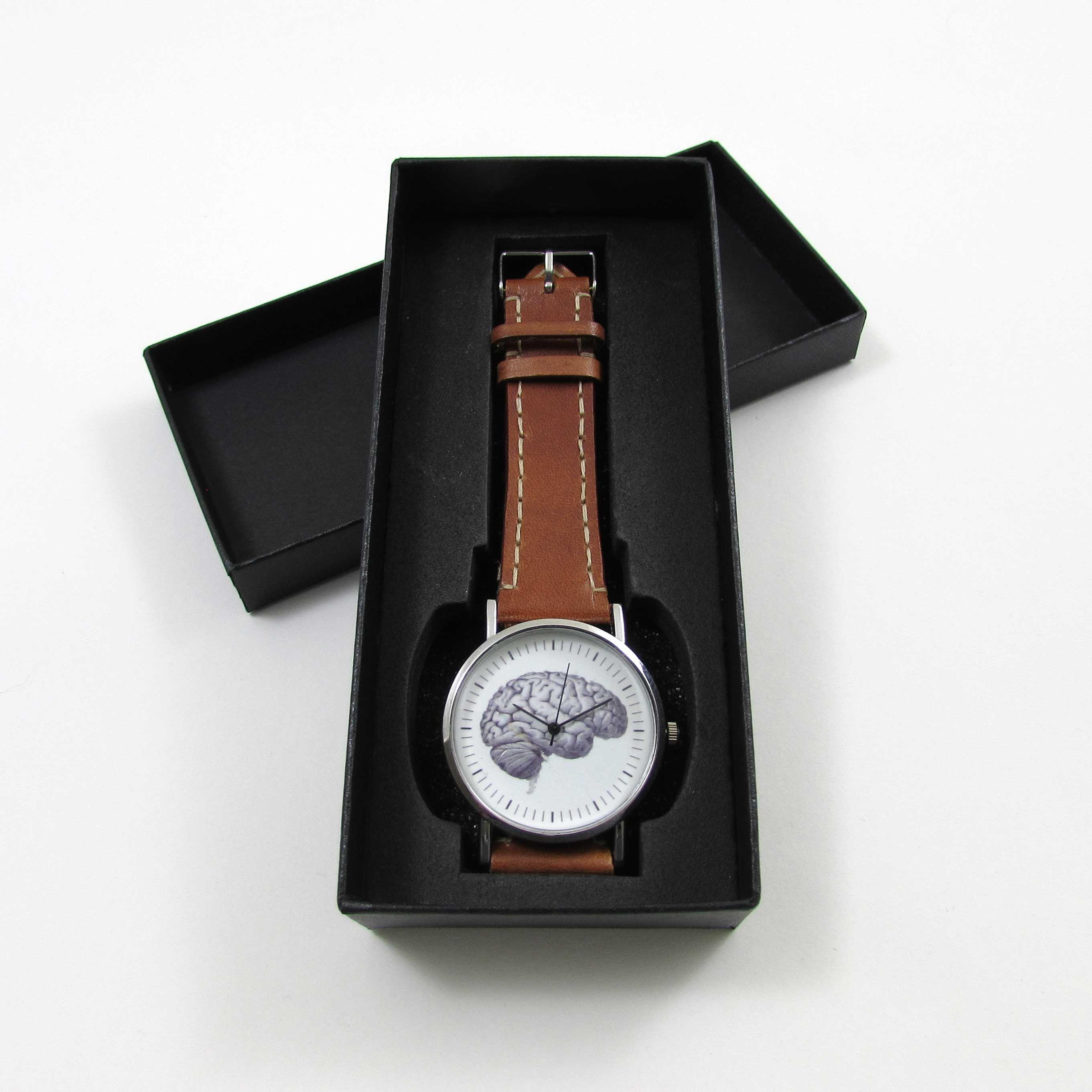 24+ Anatomical Brain Brown Leather Wrist Watch