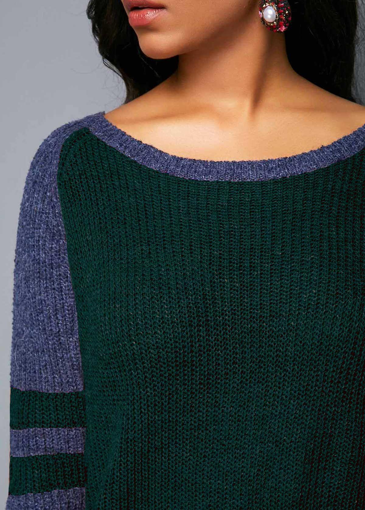 Varsity Stripe Dark Green Curved Hem Sweater |
