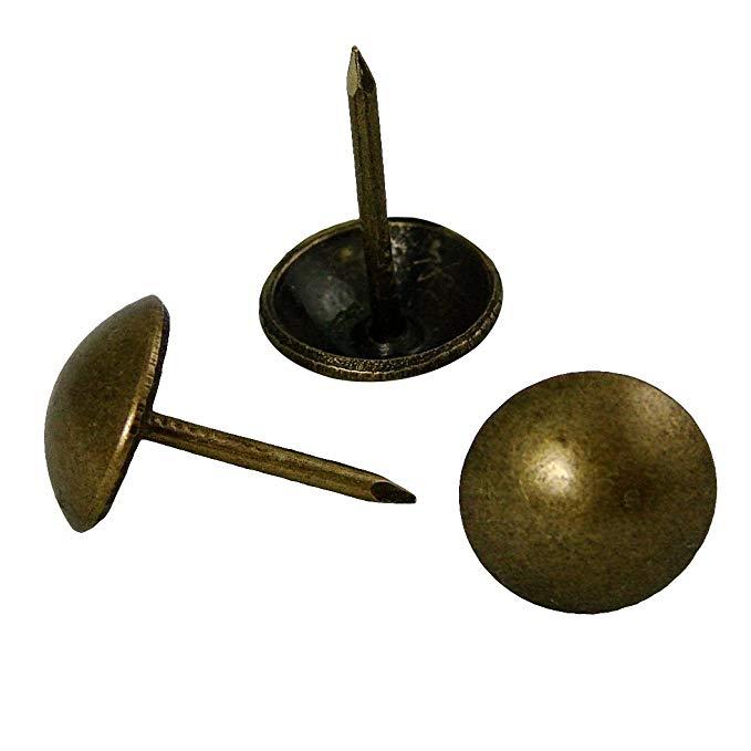 Decotacks 500 Pcs Antique Brass Finish Upholstery Nails Furniture Tacks French Natural Thumb Tack Push Pin Upholstery Nails Tacks Push Pins Antique Brass
