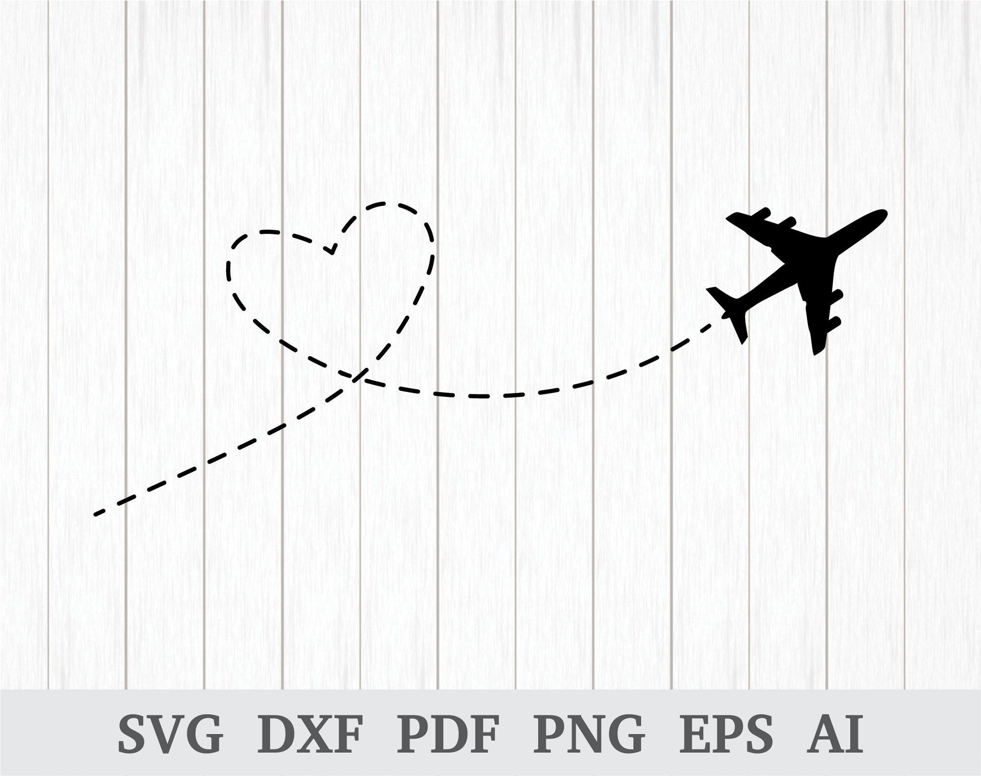 Airplane Svg Airplane Beeline Heart Svg Flying Airplane Etsy