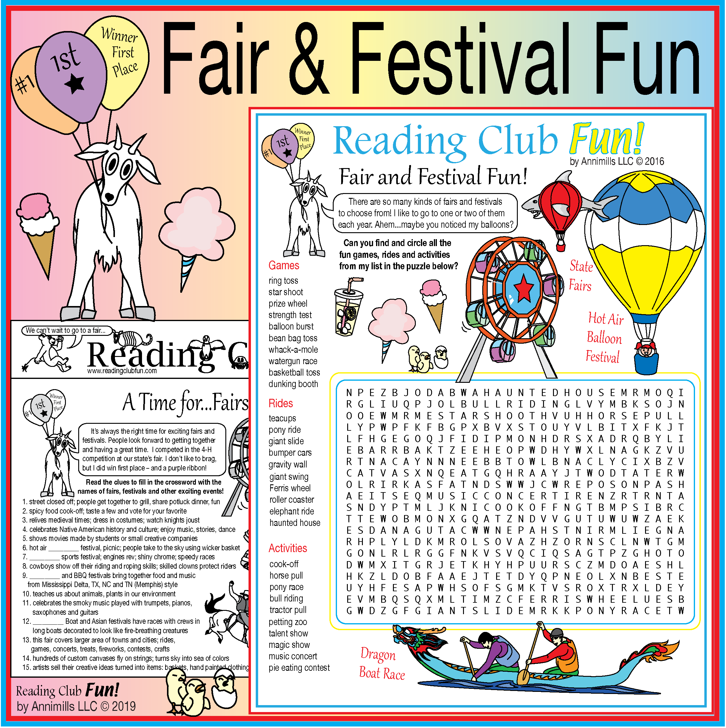 Fairs And Festivals Two Page Activity Set And Word Search
