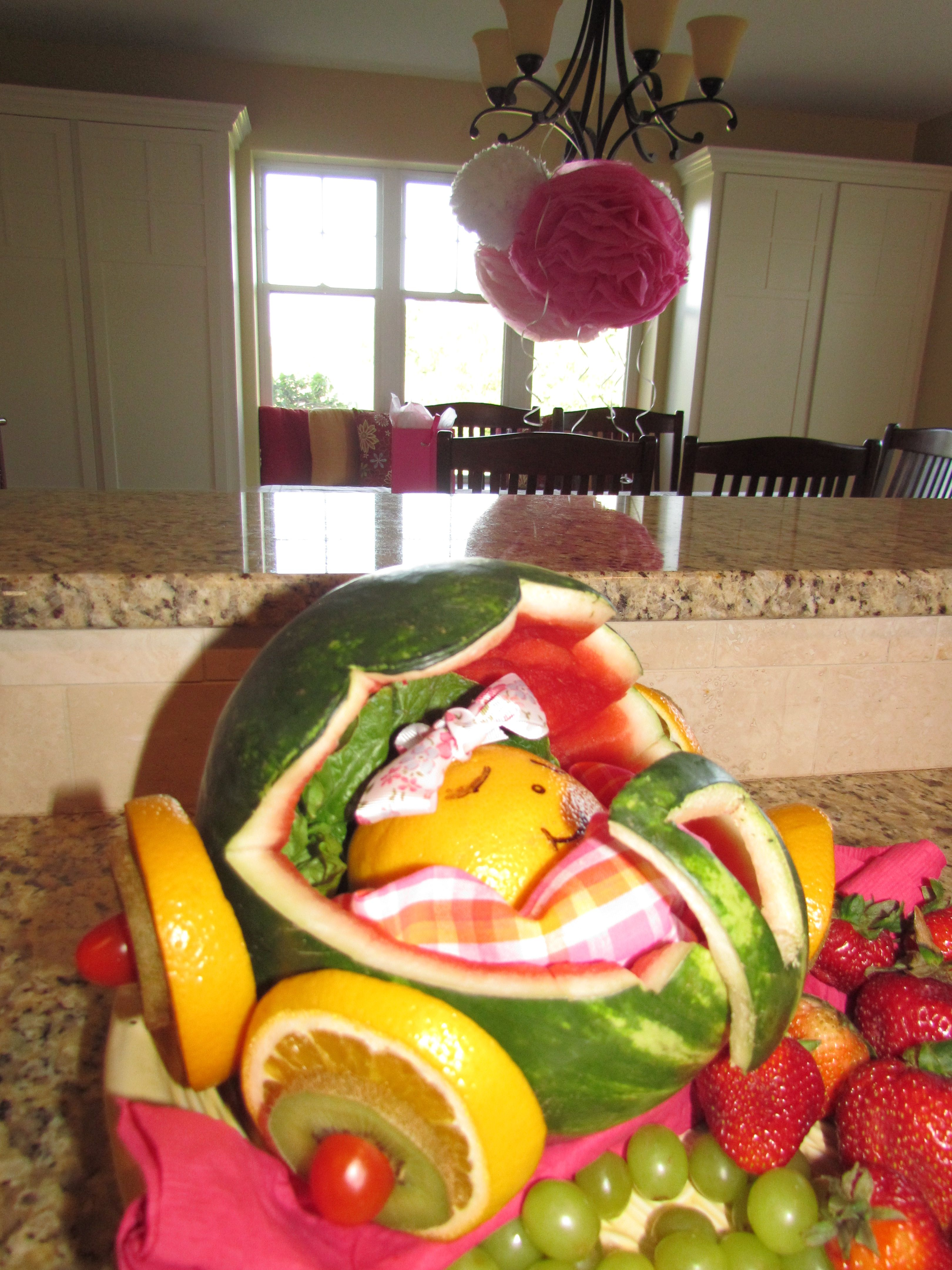 Baby Shower Decoration Watermelon Baby Carriage for Fruit Tray