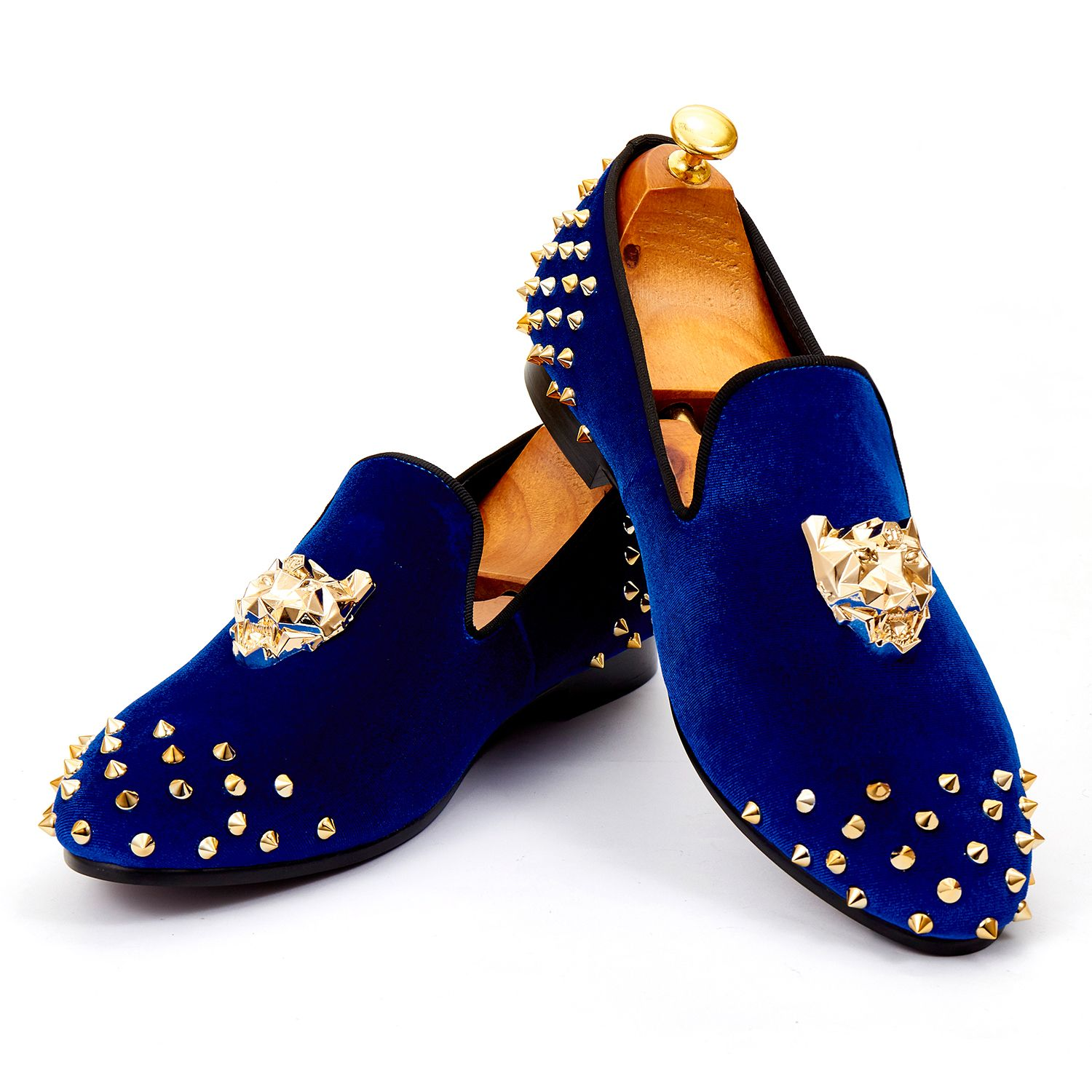 Harpelunde Mens Wedding Shoes Spikes Blue Velvet Loafers Animal Buckle Flat  Shoes Size 7-14 bd207bed3863